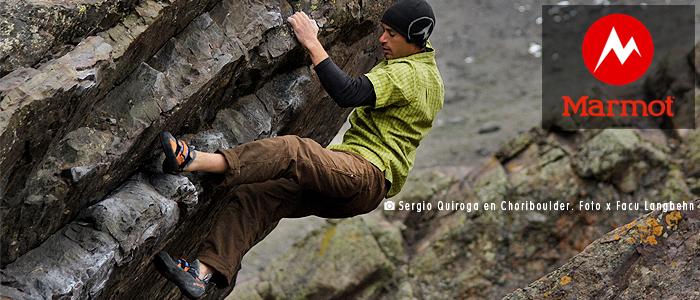 Banner Keko Quiroga en un boulder en Choriboulder para Marmot