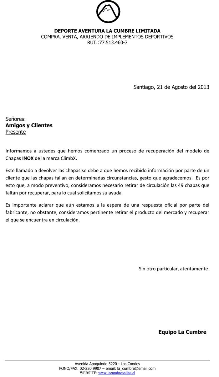 Carta Recall PDF