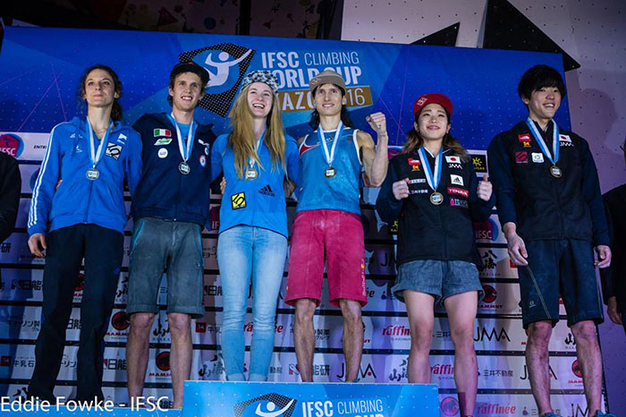 Podio Final. Foto: The Circuit World Cup and Performance Climbing Magazine
